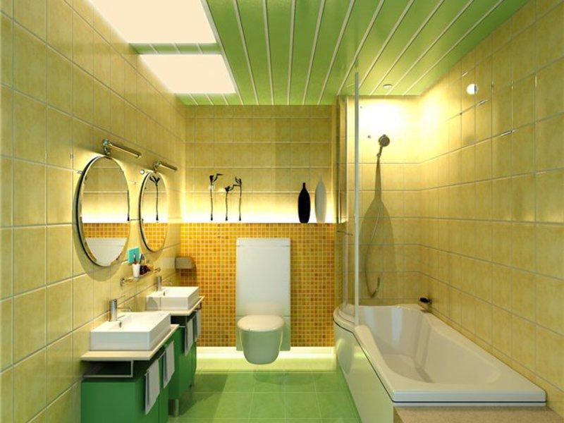 Потолки из пластиковых панелей в ванной