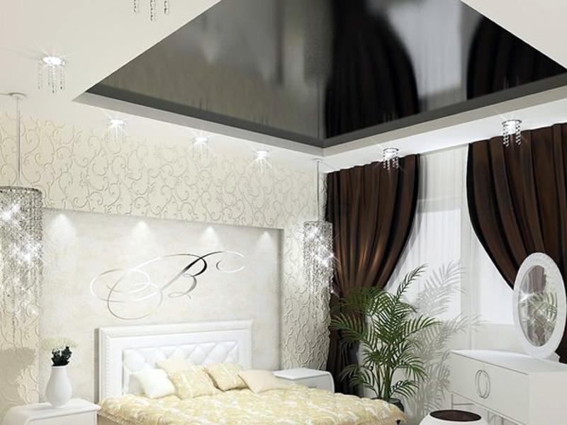 Зеркальные натяжные потолки в интерьере фото