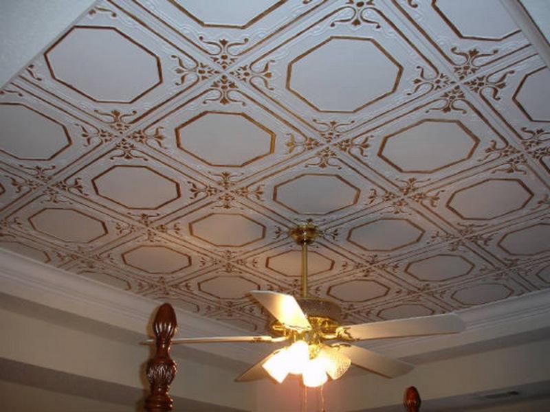 Плитка для потолка своими руками