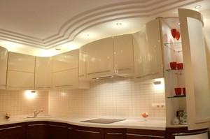 Потолки из гипсокартона для кухни на фото