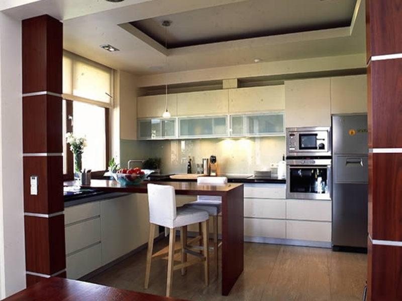 Дизайн гипсокартонного потолка на кухне фото