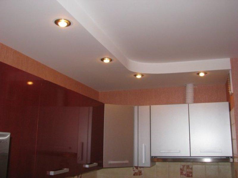 Потолок на кухне из гипсокартона фото своими руками