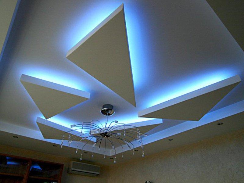 Фото потолок из гипсокартона с подсветкой своими руками