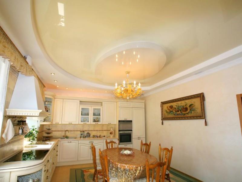 2 уровневые натяжные потолки фото на кухню