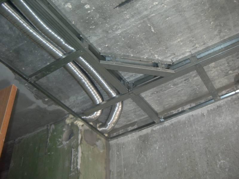 Фото как сделать каркас для потолка из гипсокартона